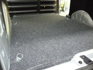 Carpet fitted to rear of Peugeot van
