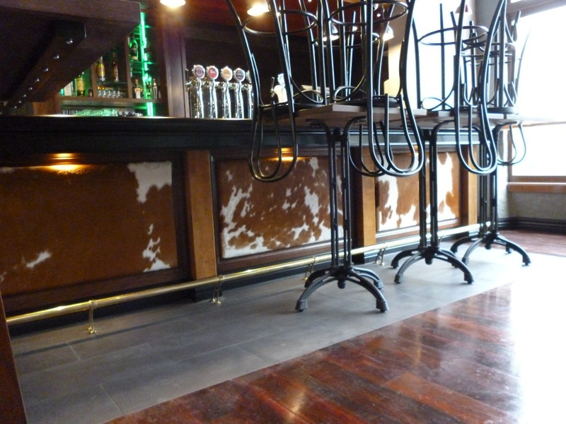Cowhide Panels along front of bar