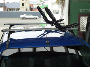 Vortex Bar roof racks with Kayak Carriers