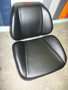 Tractor seat - padding repaired, recovered in vinyl