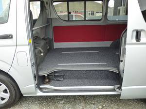 Carpet and lining in van